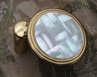 LOVELY Vintage 1950s Lustrous Mother Of Pearl Purse Mirror and Lipstick Holder, Purse Compact Handbag Beveled Mirrored Vanity, Makeup Mirror