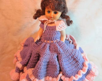 Vintage Purple and Pink Crochet Dress on a Doll, Toilet Paper Doll, Handmade Crochet Doll To Go Over Toilet Paper Roll, Toy Doll