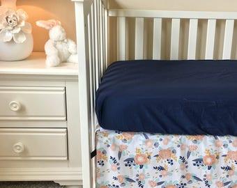 Peach Floral Crib Skirt, Navy Floral Crib Skirt, Tailored Crib Skirt, Navy Crib Skirt, Baby Bed Skirt, Peach Crib Skirt, Girl Crib Skirt