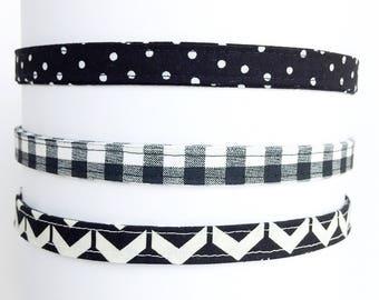 Thin Headband for sports - Black and White Headband