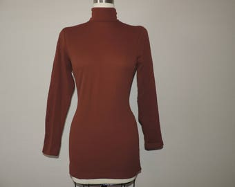 60s brown turtleneck blouse mod fitted knit long-sleeve medium new old stock