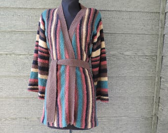 1970s boho striped sweater vintage bell sleeve earthy space dyed knit large XL