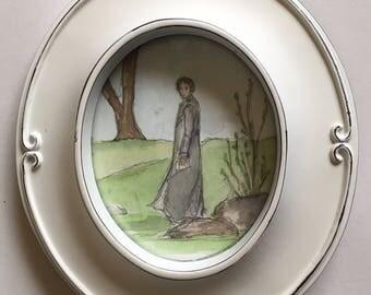 Mr.Darcy Delivers His Letter. Original Miniature Watercolor. Pride and Prejudice. Jane Austen Art.
