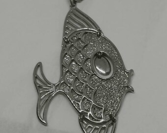 Vintage Articulating Angel Fish Pendant 1970s Pisces