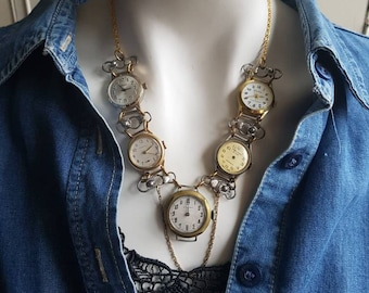 Clockwork Watches Necklace - The Doctor - OOAK - Steampunk Statement Necklace - Mechanical Watches - Infinity - Time Traveller - Timeless