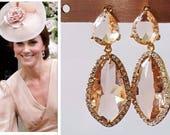 Kate Middleton Peach Pink Morganite Champagne Crystal Halo CZ Teardrop Gold Pear Earrings
