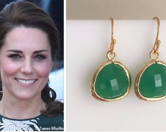 Kate Middleton Genuine Green Onyx Gold Gemstone Drop Earrings