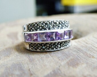 Vintage Art Deco Style Sterling Silver 925 Channel Set Amethyst and Marcasite Band Ring Size 8