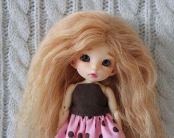 Lovely Light Auburn mohair wig for Pukifee / Lati Yellow / other small doll
