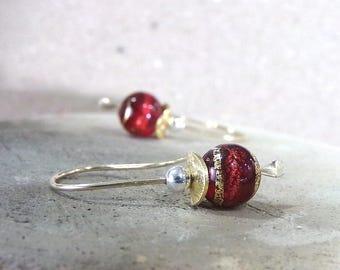 Red Earrings, Gold Earrings, Venetian Glass Earrings, Red Murano Glass, Red Gold Silver Earrings, Petite Earrings, Simple - Red Berries