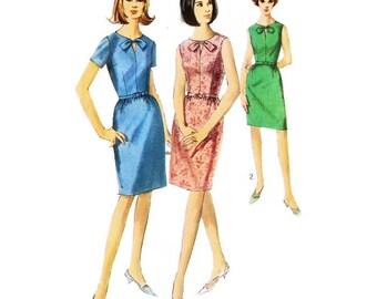 1960s Sheath Dress with Keyhole Neckline Pattern Simplicity 6297 B34 Sz 14