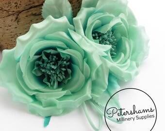 Silk 'Fiona' Double Rose Millinery Fascinator Flower Hat Mount - Aqua Ombre