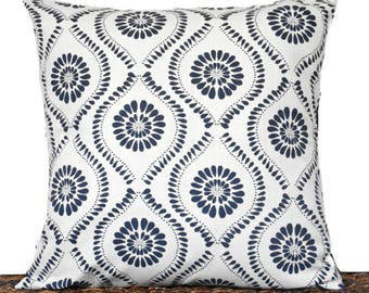Navy Blue Quatrefoil Pillow Cover Cushion Medallion White Indigo Moroccan Decorative Repurposed 18x18
