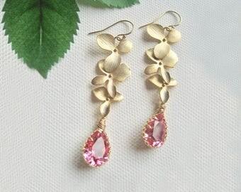 Bridal Earrings Gold, Bridesmaids Earrings, Wedding Earrings, Wedding Earrings Gold, Bridesmaids Gift, Maid Of Honor Gift, Pink Earrings