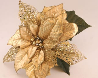 Jumbo Gold Poinsettia - Artificial Flowers, Holiday Flowers, Christmas Floral