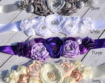 Women child baby satin Rhinestone flowers wedding dress flower girl comunion birthday baptism sash belt purple gray white beige peach silver