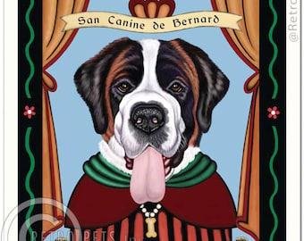 11x14 Saint Bernard Art - Patron Saint of Gentle Giants - Art print by Krista Brooks