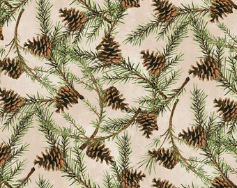 Wilmington Prints - Christmas In The Wildwood - Pinecones - Tan Fabric by yard or select cut  33807-227