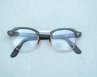 1950s mid century eye glasses cat eye B&L Bausch Lomb silver wire and pearlized gray eyebrow 12K GF