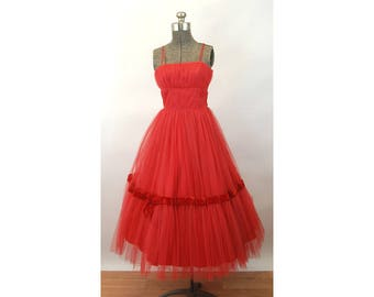 1950s tulle gown red net Christmas prom dress tea length party dress with wrap Size XS