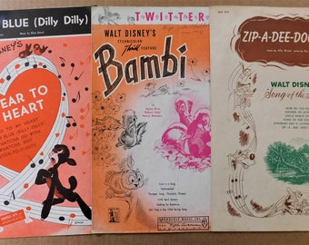 1942 - 1948 Walt Disney Lot Song of the South So Dear To My Heart Bambi Sheet Music Vintage 1940s