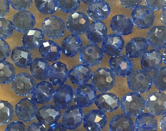 35 x faceted glass 8mm abacus blue beads