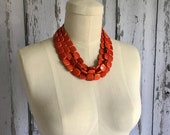 RESERVED LISTING For Diane, Orange Chunky Necklace, Multi Strand Necklace, Orange Chunky Necklace, Statement Necklace, ACRYLIC Necklace