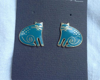 Vintage Laurel Burch Cat Earrings Keshire Turqoise Blue Enamel Cloisonne on Original Card