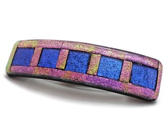 Extra Large Hair Barrette, Dichroic Barrette, French Clip Hair Barrette, Fused Glass, Blue and Pink