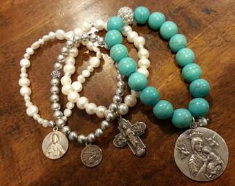 Sterling Silver Sacred Heart Auto League Bracelet, Travelers Protection Bracelet,  Sacred Heart Bracelet, Genuine Pearl Bracelet