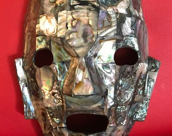 Vintage Aztec-Mask-Abalone-Shell-Mayan--hand-made-polished-iridescent-colorful