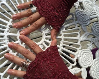 Cuffs - Burning Man - Lace Cuffs - Fingerless Gloves - Gypsy Boho - Clothing Accessory - Tribal - Burgundy Lace - Sexy Gloves - One Size