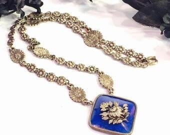 CIJ SALE Christmas JULY Lovely Art Nouveau Art Deco Czech Lapis Blue Art Glass Floral Motif Vintage Antique Necklace Art Nouveau Jewelry