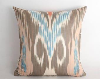 15x15 ikat pillow cover, cushion case, ikats, ikat, ikat cushion, brown ikat, brown pillow, accent pillow, decorative pillow