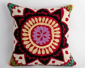 Vintage suzani pillow cover, fully handmade silk embroidery. one of a kind. 13x13 inches or 32x32 cm size, suzani, vintage, silk embroidery
