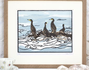 Original Linocut Fine Art Print Cormorants