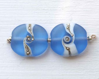 Sapphire Blue Lampwork Bead Pair, SRA Handmade Frosted Glass Beads
