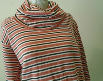Stephanie By Koret Turtle Neck Knit Pullover  Orange Brown White Stripes Size Large
