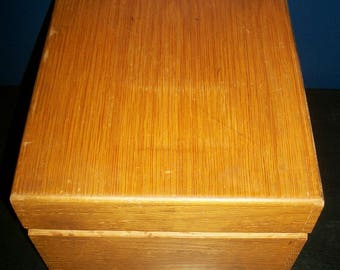 Vintage Large Wood Index File Box