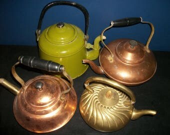 Vintage Metal Teapot Lot of 4 Enamel Copper Brass