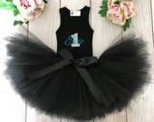 Black Baby Girl 1st Birthday Outfit | Baby Tutu | Tutu Dress | Birthday Dress | Baby Girls Cake Smash Outfits | Birthday Tutu | Aqua