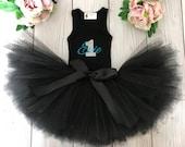 Black Baby Girl 1st Birthday Outfit | Baby Tutu | Tutu Dress | Birthday Dress | Baby Girls Cake Smash Outfits | Birthday Tutu | Aqua