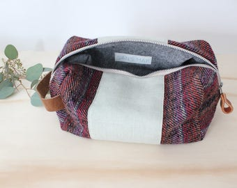 Dopp bag Toiletry case repurposed vintage wool fabric