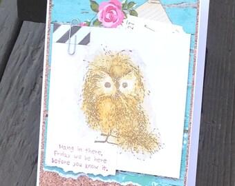 Owl Card, Thinking of You Card, Encouragement Owl Card, Cute Owl Card, I Don't do Mondays