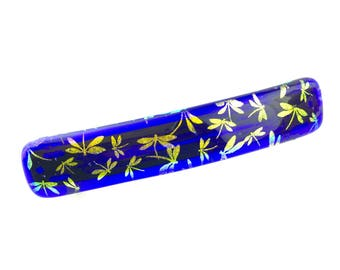 Hair Barrette French Clip, Royal Blue with Gold Dragonflies Dichroic Glass