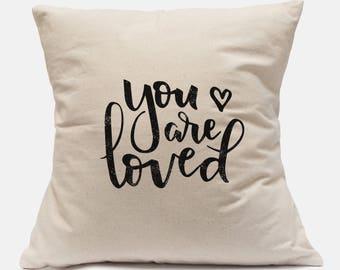 Girls Nursery Ideas, Nursery Pillow, You are Loved, Neutral Nursery Decor, Nursery Throw Pillow, Canvas Pillow Cover, Baby Shower Gift