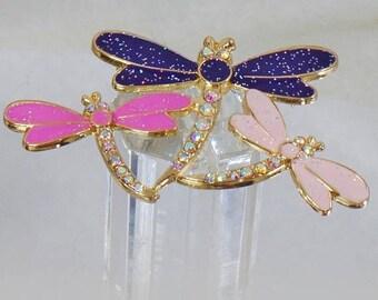 SALE Vintage Pink Purple Rhinestone Three Dragonfly Brooch. Enamel and Rhinestone Encrusted 3 Dragonfly Pin.