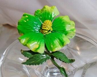 SALE Vintage Flower Brooch. Green Yellow Enamel Flower Power Pin. Large Flower Brooch.