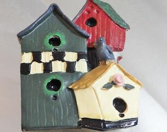 SALE Vintage Birdhouse Brooch. Spring Birdhouses Pin.  Folk Art Bird House Brooch. Resin.