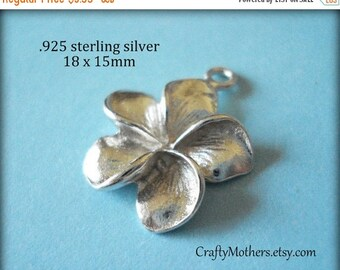8% off SHOP-WIDE, Bali Sterling Silver Plumeria Flower Charm, 18mm x 15mm, BRIGHT, bridal jewelry - Choose a Quantity